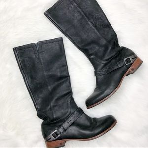 Ugg Black Leather Tall Boots Size 9